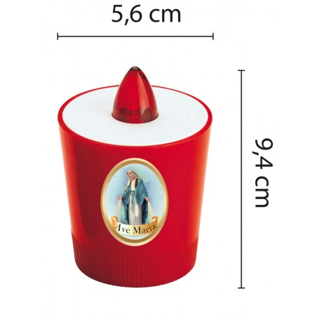 LED votive candle. Batteries included. Image of the Madonna. IL01M Velamp Votive lights