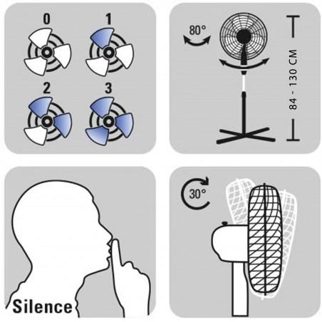 MISTRAL3 : ventilatore a piantana 40 cm, in metallo cromato VENT-M40C3 Ventilatori a piantana Velamp