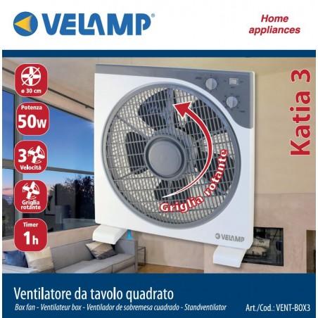 KATIA3: BOX FAN with timer, 30cm VENT-BOX3 Velamp Desk fans