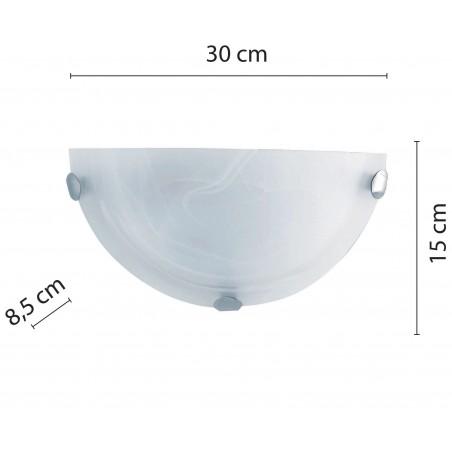 Plafoniera mezza luna in alabastro diametro 30cm 1xe27 sirio bianco PT310 Plafoniere e27 in vetro Velamp