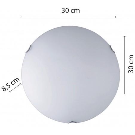 SAPHIR: frosted glass ceiling light, 30cm diameter, E27 PT333 Velamp E27 glass ceiling lamps