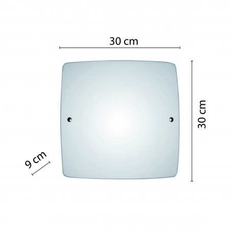 SAPHIR: frosted glass ceiling light, 30x30cm square, E27 PT363 Velamp E27 glass ceiling lamps