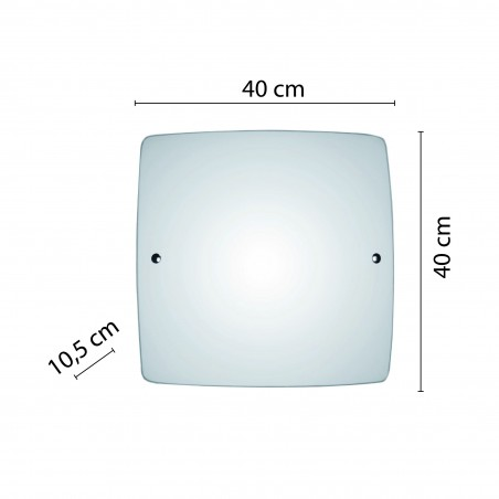SAPHIR: frosted glass ceiling light, 40x40cm square, E27 PT373 Velamp E27 glass ceiling lamps