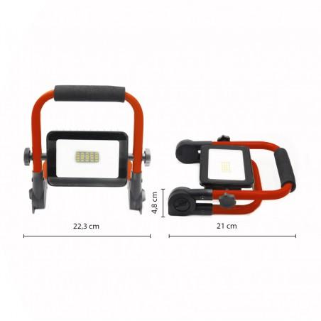 THE EXPANDABLE: Wiederaufladbares 10-W-LED-Flutlicht mit klappbarem Standfuß. IR882 Wiederaufladbare Arbeitsleuchten Velamp