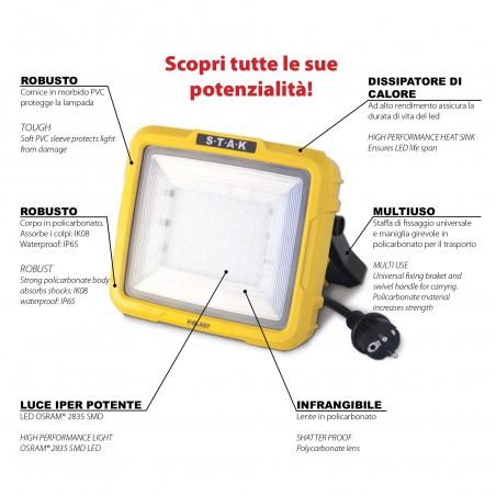 X BLAST 50W: LED Akku-Zonen-Strahler, wiederaufladbar, 3600 LM ST225 Wiederaufladbare Arbeitsleuchten für den Profi Velamp