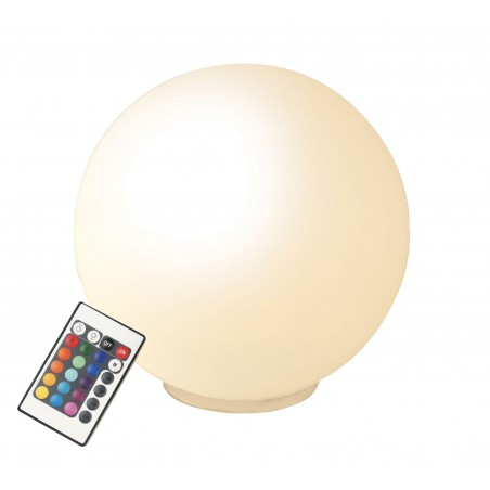 GLAMOUR: Glass LED table lamp. 20cm Ø. White + RGB. With RC TL1810 Velamp Decorative lamps