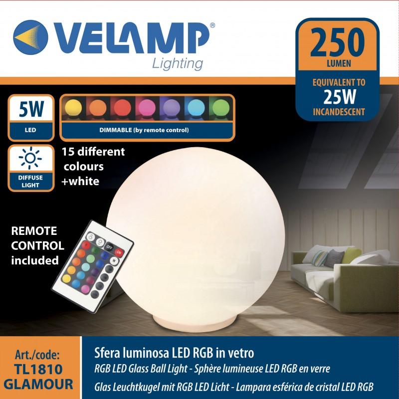 Lampada led in vetro diametro 20 cm + rgb telecomando ...