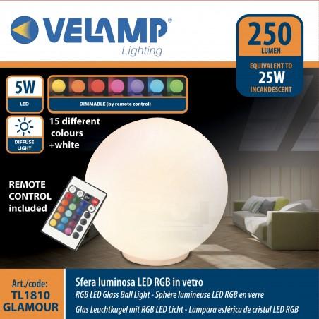 Lampada led in vetro diametro 20 cm + rgb telecomando glamour bianco TL1810 Lampade decorative Velamp