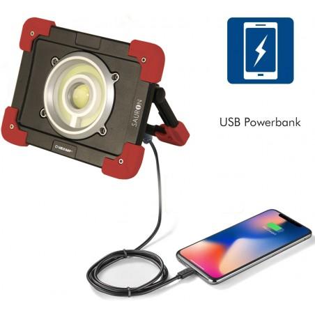 SAURON: projecteur LED rechargeable, 20W 1200 lm IR827 Phares rechargeables Velamp