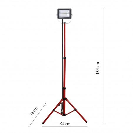 WAINGRO: proiettore LED SMD 50W, IP65, con treppiede e cavo 3mt IS746-50W Proiettori su treppiedi Velamp