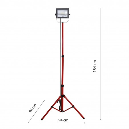 WAINGRO + TRIPOD: 50W LED floodlight on tripod, 6500K. 3m cable IS746-50W Velamp Worklights on tripod