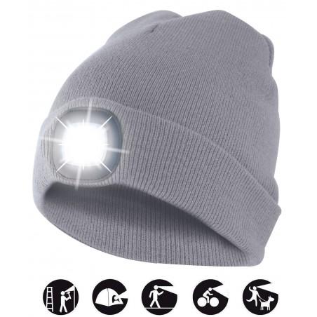 LIGHTHOUSE : Bonnet avec frontale LED rechargeable. Gris clair CAP01 Bonnets LED Velamp