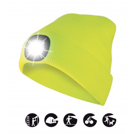 LIGHTHOUSE: Beanie with rechargeable LED headlamp. Lime yellow CAP07 Velamp LED flashlights