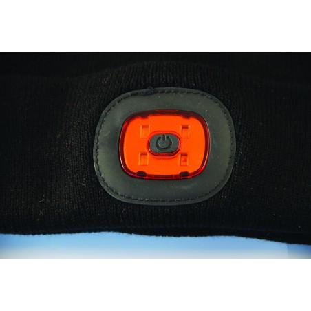 LIGHTHOUSE: Mütze mit frontaler LED und Rotlicht hinten, wiederaufladbar. Schwarz ST011 Taschenlampen und Arbeitsscheinwerfer...