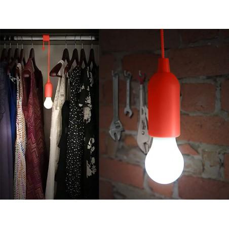 RETRO': Bombilla LED portátil con interruptor de cadena - color rojo IL84-R Velamp Luces de armario