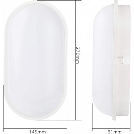 Applique led 20w 1600 lumen ip65 tartaruga xxl2 bianco TARTARUGA-XXL2 Applique ovali Velamp