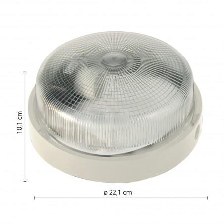 Applique tonda 22cm in plastica + vetro e27 max 60w bigbob bianco BIGBOB-B Plafoniere tonde Velamp