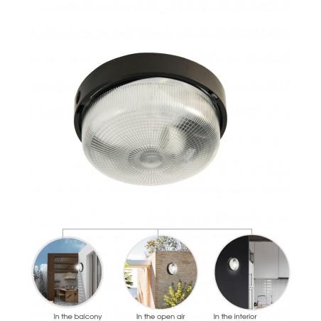 BIGBOB: Applique tonda 22cm in plastica + vetro E27 max 60W - Nero BIGBOB-N Plafoniere tonde Velamp