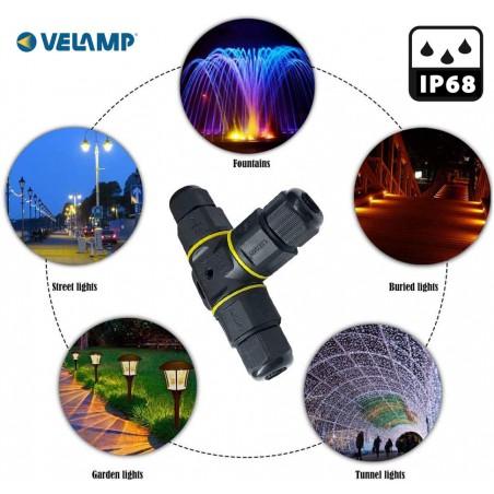 """Connettore IP68 a """"T"""" CIP682 Portalampada, starters e connettori Velamp"""