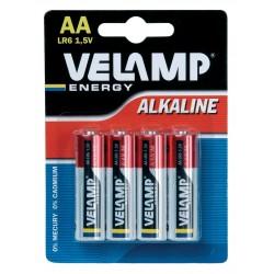 Alkalibatterie, LR6 AA, 1,5 V - Blisterpackung mit 4 Stück LR6/4BP Alkaline Velamp