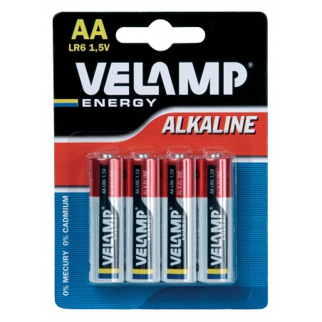 LR6 AA 1,5V alkaline battery. Blister of 4 pieces LR6/4BP Velamp Alkaline