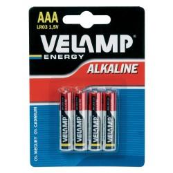 Pila alcalina mini stilo LR03 AAA, 1,5V - Blister da 4 LR03/4BP Pile alcaline Velamp