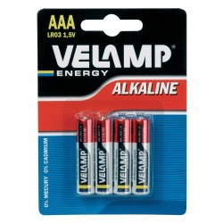 Pila alcalina mini stilo lr03 aaa 1,5v blister da 4 LR03/4BP Pile alcaline Velamp