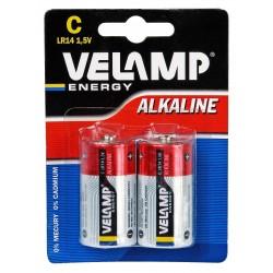 LR14 C 1,5V alkaline battery. Blister of 2 pieces LR14/2BP Velamp Alkaline