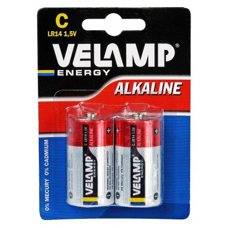 Pila alcalina mezza torcia lr14 c 1,5v 2 pezzi LR14/2BP Pile alcaline Velamp