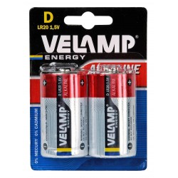 LR20 D 1,5V alkaline battery. Blister of 2 pieces LR20/2BP Velamp Alkaline