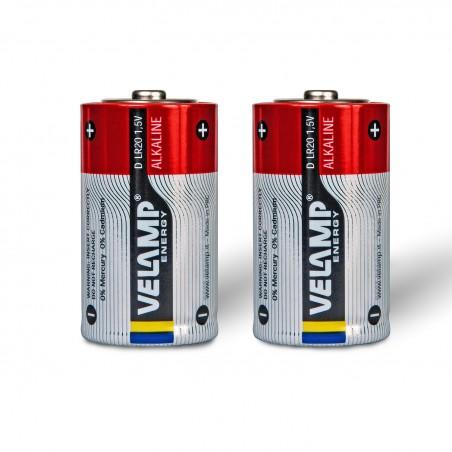 Batería de linterna alcalina, LR20 D, 1,5V. 2 piezas LR20/2BP Velamp Alcalinas