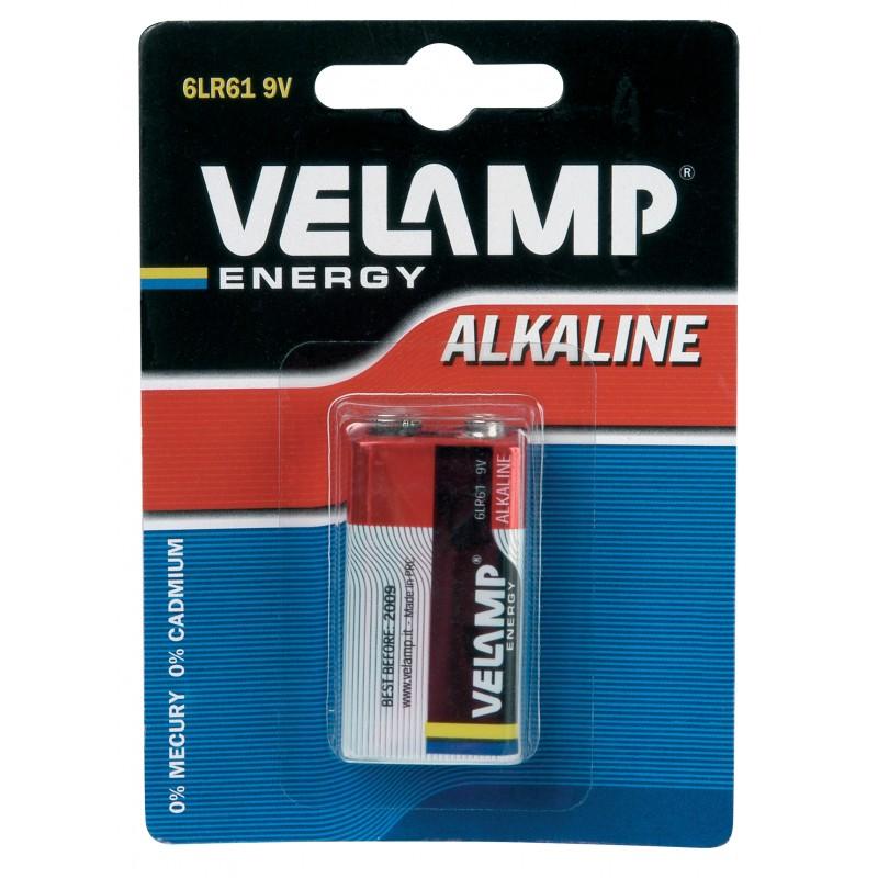 6LR61 9V alkaline battery. Blister of 1 piece 6LR61/1BP Velamp Alkaline