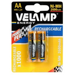 Batteria ricaricabile ni mah 1,2v stilo 2600 mah 2 pezzi HR6-2600/2BP Pile ricaricabili Velamp