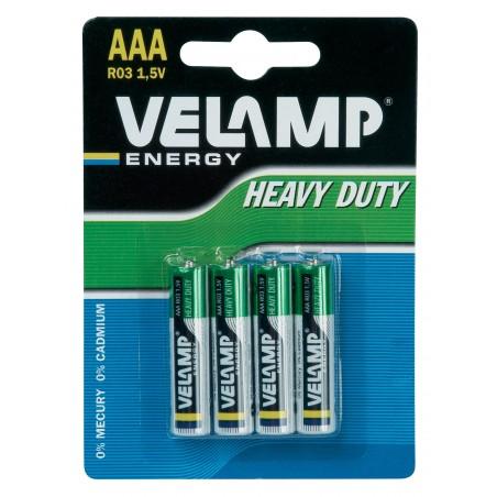 R03 AAA 1,5V zinc carbon battery. Blister of 4 pieces R03/4BP Velamp Zinc-Carbon