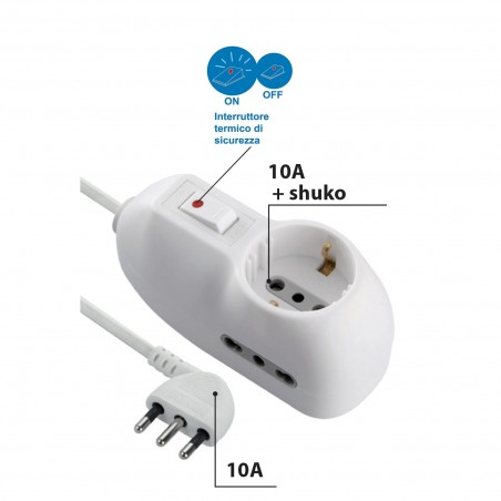 Power strip 3 places: 1 schuko + 2 bivalent 10 / 16A. 1.5m cable, 10A small plug MULTIT-I-102 Velamp Italy multisockets