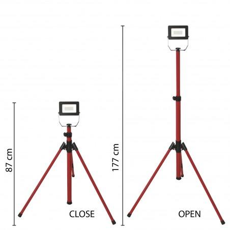 LIGHT PAD 2: proiettore LED SMD 20W IP65, nero 6500K con treppiede e cavo 3mt IS749-2 Velamp Worklights on tripod