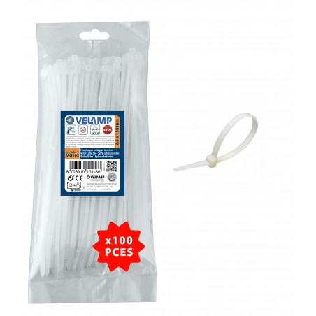 White nylon cable ties 2,5x150 - 100PCs MG102 Velamp Nylon white cable ties