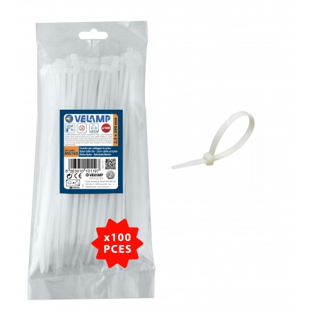 Fascette bianche in nylon 2,5x200 - 100pz MG103 Fascette bianche in nylon Velamp