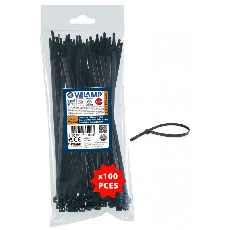 Black nylon cable ties 2,5x150 - 100PCs MG202 Velamp Nylon black cable ties