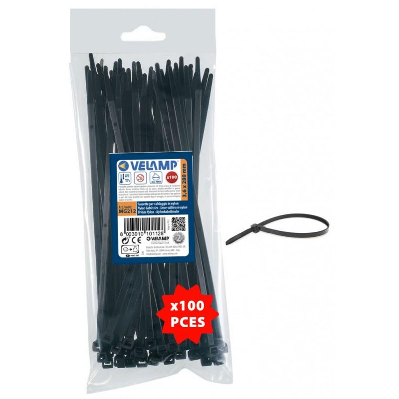 Colliers de fixation en nylon. Noirs.  3,6x280 - 100pces MG212 Serre-câbles noirs en nylon Velamp