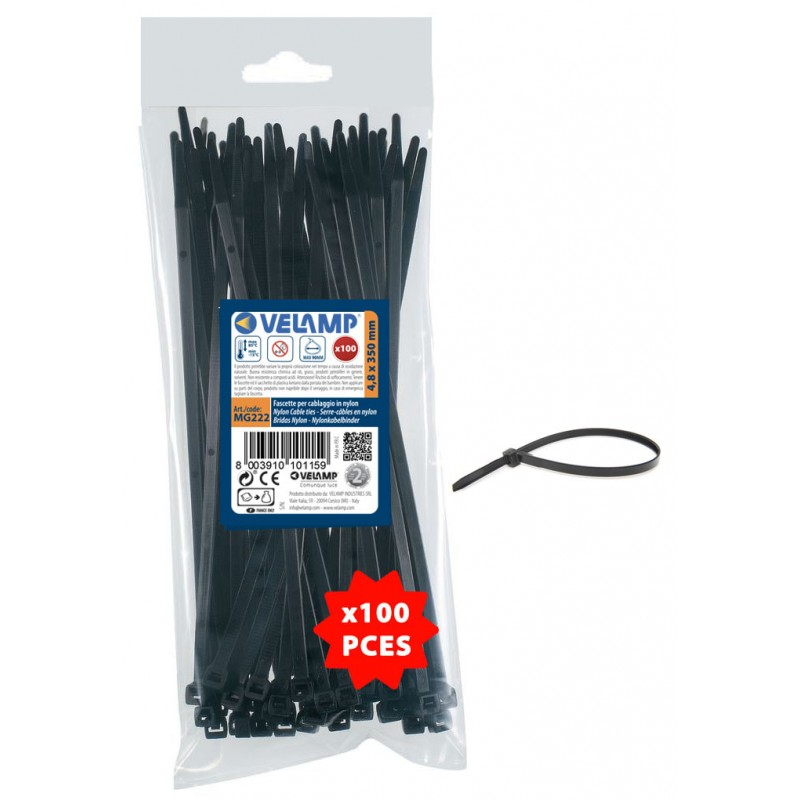 Bridas de nylon color negro 4,8x350 - 100pz MG222 Velamp Fascette nere in nylon