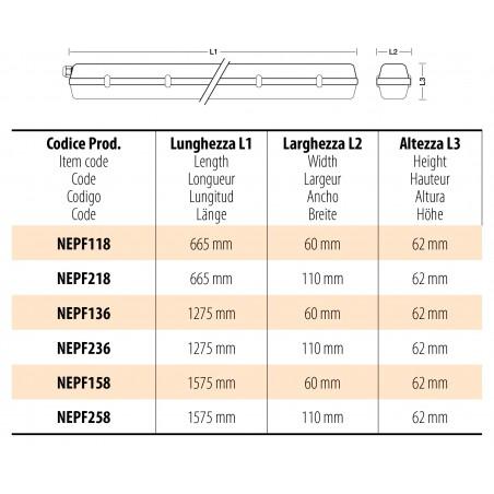 Deckenleuchte ausschließlich für 2 Leuchtröhren LED, 120cm. IP65 NEPF236 Wannenleuchten Velamp