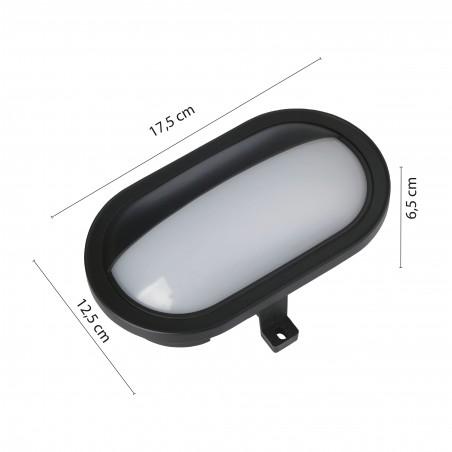 PALPEBRA: applique LED integrati 5.5W nera. Da esterno PALPEBRA-N Applique ovali Velamp