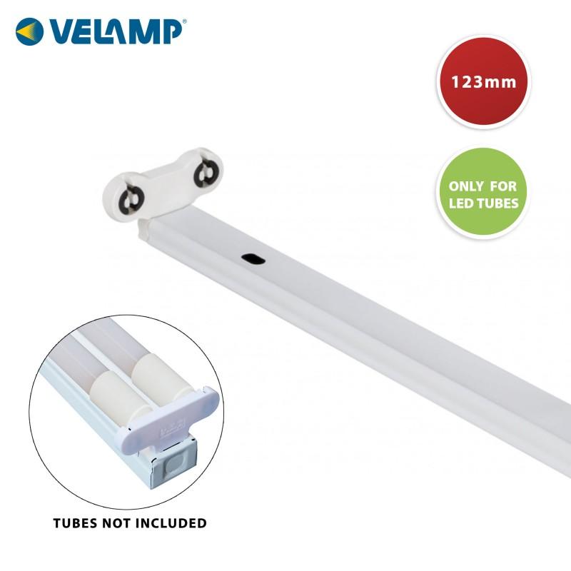 Plafón para 2 tubos LED T8 120cm, para interior PI20236 Velamp Regletas para tubos LED T8