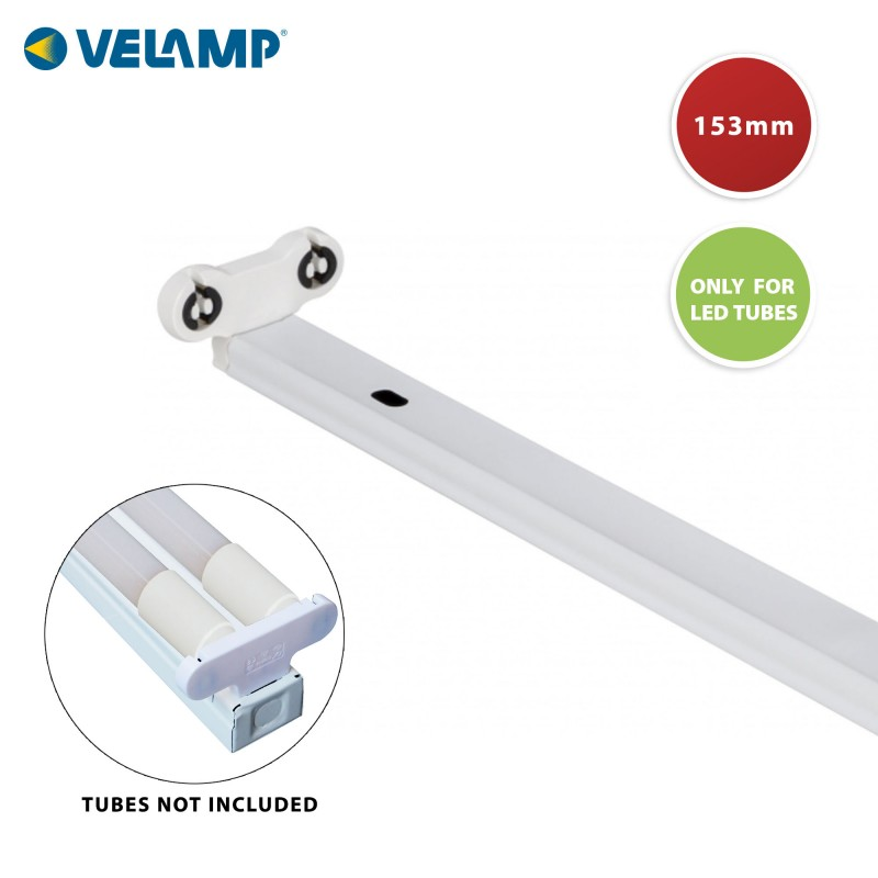 Indoor T8 batten. Only for 2 LED tubes (not included), 150 cm PI20258 Velamp LED T8 tube lampholder