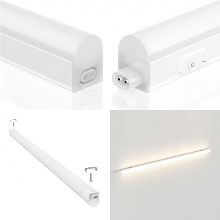 DURANDAL: 48 LED T5 batten with switch. 8W, 57cm, 4000K RS8-8W.010S Velamp T5 size LED bar lights