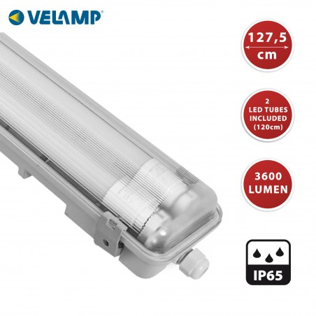 IP65 waterproof batten, 120cm. 2 LED tubes included: 2x18W, 4000K TNE236 Velamp Waterproof fittings