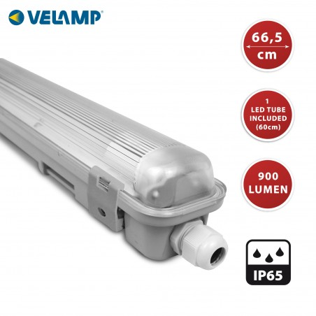 IP65 waterproof batten, 60cm. 1 LED tube included: 9W, 4000K TNE118 Velamp Waterproof fittings