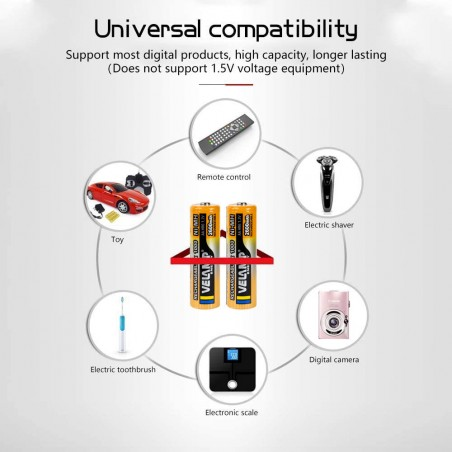 2600 mAh Ni-MH 1,5V AA rechargeable batteries. Blister of 2 pieces HR6-2600/2BP Velamp Rechargeable