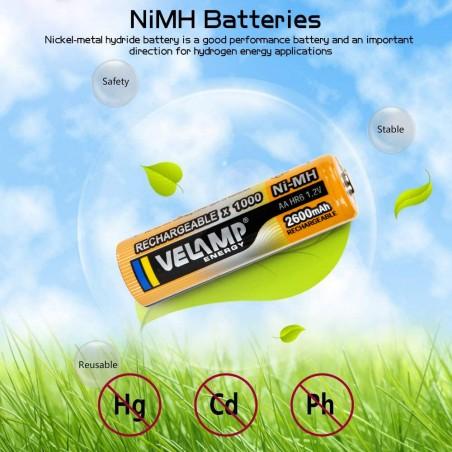 Batteria ricaricabile Ni-mAh 1,5V STILO 2600 mAh - 2 pezzi HR6-2600/2BP Pile ricaricabili Velamp